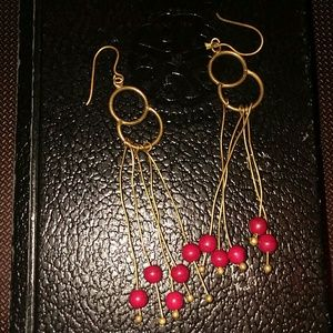 Brass and red bead hanging earrings